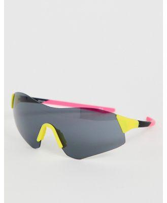ASOS DESIGN half frame colour block visor fashion glasses in neon-Multi