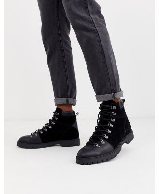ASOS DESIGN hiking boots in black leather