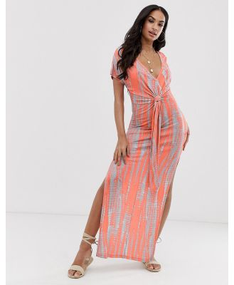 ASOS DESIGN jersey beach maxi dress in washed neon tie dye with twist front detail-Multi