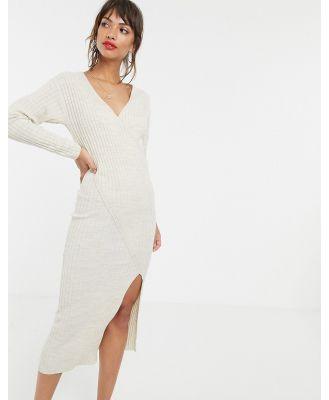 ASOS DESIGN knit rib midi dress with wrap detail-Neutral