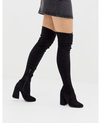 ASOS DESIGN Korey heeled thigh high boots in black