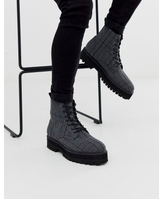 ASOS DESIGN lace up boots in check with raised chunky black sole-Grey