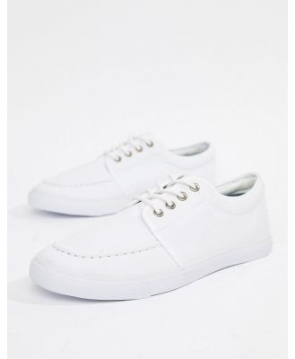 ASOS DESIGN lace up plimsolls in white canvas