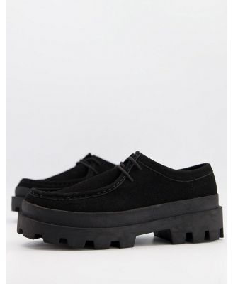 ASOS DESIGN lace-up shoe in faux leather on chunky sole-Black