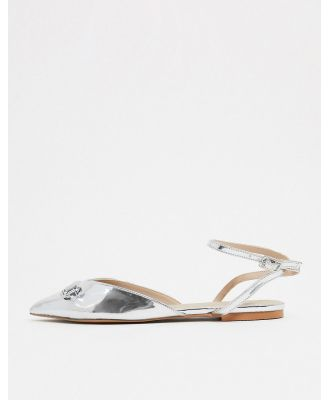 ASOS DESIGN Laugh pointed ballet flats in silver