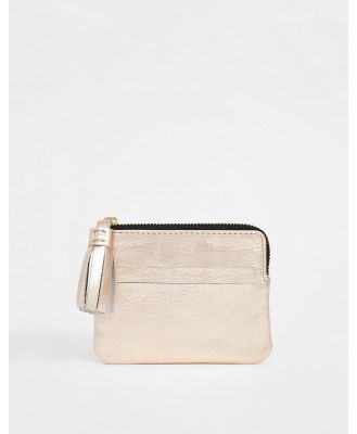 ASOS DESIGN leather coin purse with tassel - Copper