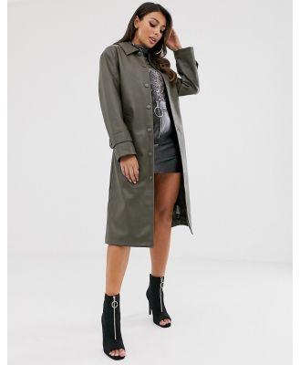 ASOS DESIGN leather look trench coat in khaki-Green