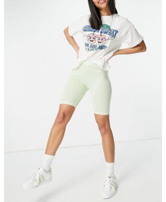 ASOS DESIGN legging short in green gingham print