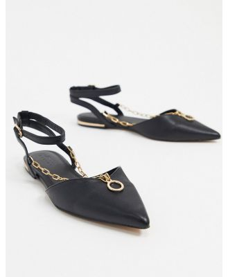 ASOS DESIGN Lennox pointed ballet flats with chain detail in black