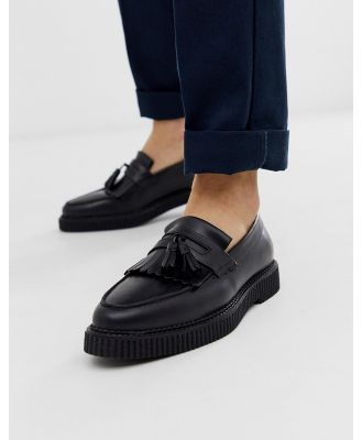 ASOS DESIGN loafers in black leather with creeper sole