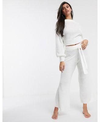 ASOS DESIGN lounge premium knitted wide leg pant-White