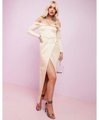 ASOS DESIGN Luxe premium satin off shoulder maxi dress with split and embellished fringe trim-Cream