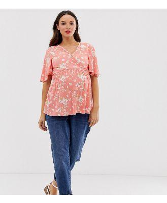 ASOS DESIGN Maternity nursing floral plisse wrap top with flutter sleeve-Multi