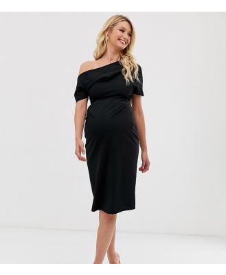 ASOS DESIGN Maternity pleated shoulder pencil dress-Black