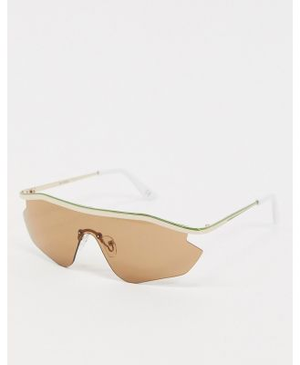 ASOS DESIGN metal visor sunglasses in gold