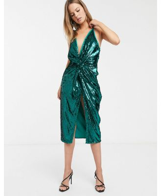 ASOS DESIGN midi dress with knot front in sheet sequin-Green