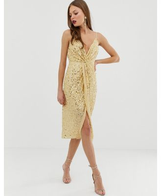 ASOS DESIGN midi strappy cami dress with knot front plunge in scatter sequin-Gold