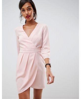 ASOS DESIGN mini dress with wrap skirt-Pink