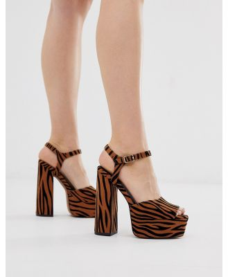 ASOS DESIGN Nacho platform barely there heeled sandals in tiger-Multi