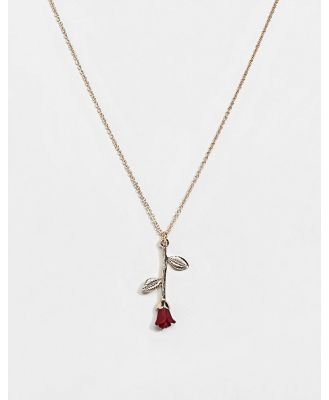 ASOS DESIGN necklace with rose pendant in gold