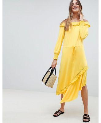 ASOS DESIGN Off Shoulder Shirred Cuff Midi Tea Dress-Yellow