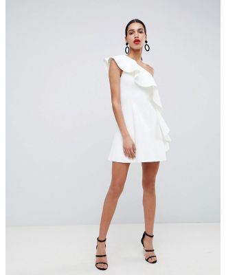 ASOS DESIGN one shoulder ruffle a-line mini dress in ivory-White