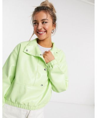 ASOS DESIGN over the head vinyl jacket in lime-Green