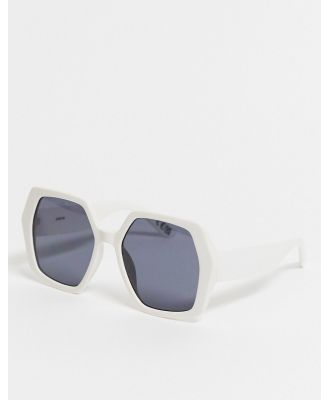 ASOS DESIGN oversized 70s hexagon sunglasses in white