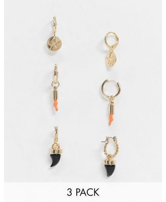 ASOS DESIGN pack of 3 hoop earrings with shark tooth and coral charm beads in gold tone