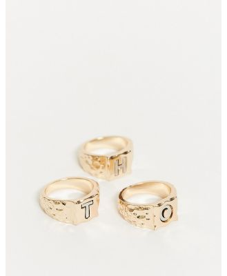 ASOS DESIGN pack of 3 rings with slogan HOT in gold tone