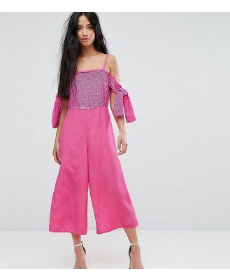 ASOS DESIGN petite Embellished cold Shoulder Jumpsuit-Pink