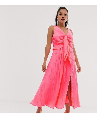 ASOS DESIGN Petite knot front pleated maxi dress-Pink