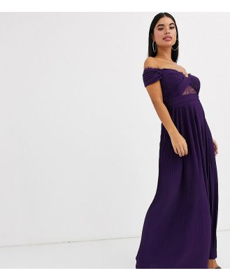 ASOS DESIGN Petite lace and pleat bardot maxi dress-Purple