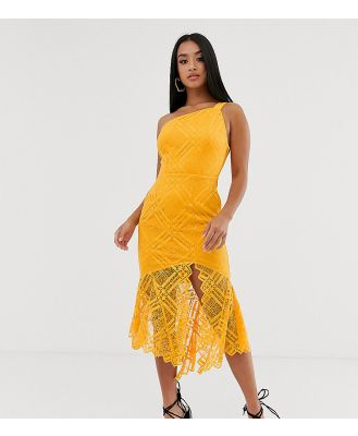 ASOS DESIGN Petite lace one shoulder scallop pephem midi dress-Orange