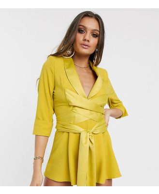 ASOS DESIGN petite plunge tux playsuit-Yellow