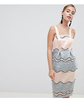 ASOS DESIGN Petite premium pencil with tulip hem dress-Multi