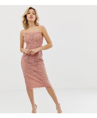 ASOS DESIGN Petite square neck pencil midi dress in lace-Multi