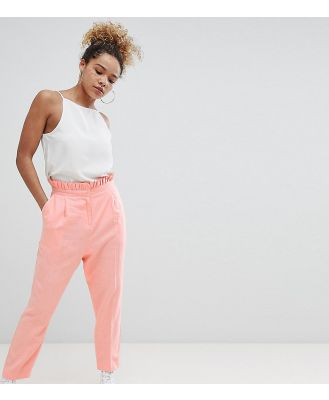 ASOS DESIGN Petite tailored casual linen pant with frill waist - Pink
