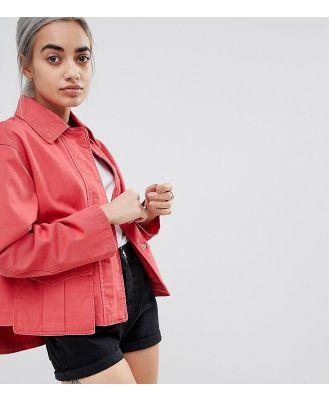 ASOS DESIGN Petite washed cotton jacket - Red