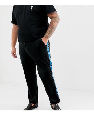 ASOS DESIGN Plus skinny smart pant in black velvet with blue side stripe