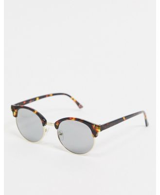 ASOS DESIGN retro sunglasses in gold with brown tort detail and smoked lens