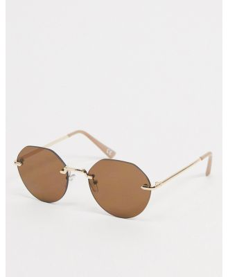 ASOS DESIGN rimless angled sunglasses in gold with brown lens