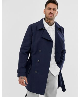 ASOS DESIGN shower resistant double breasted trench coat in navy