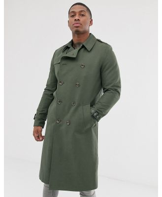 ASOS DESIGN shower resistant longline trench coat with belt in khaki-Green