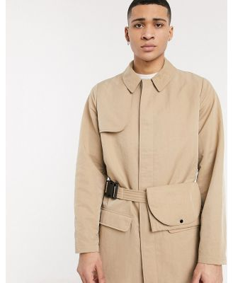 ASOS DESIGN single breasted trench coat with bag belt in stone-Neutral