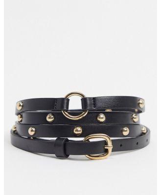ASOS DESIGN skinny double wrap belt in black