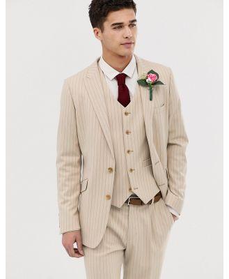 ASOS DESIGN skinny suit jacket in cream pinstripe-White
