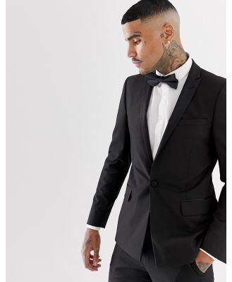 ASOS DESIGN skinny tuxedo suit jacket with satin lapel in black