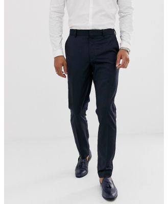 ASOS DESIGN skinny wool tuxedo suit pants in navy