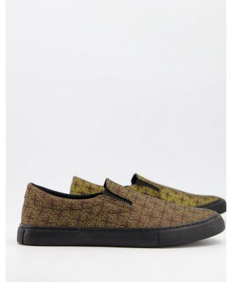 ASOS DESIGN slip on canvas shoes in glitter material-Gold